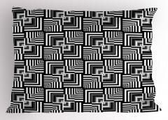 Siyah Beyaz Çizgili Yastık Kılıfı Geometrik Şık