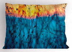 Mavi Bitkili Desen Yastık Kılıfı Doğa Dekoratif