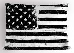 Siyah Beyaz Bayrak Yastık Kılıfı Amerikan Eskitme