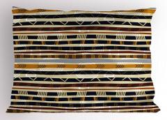 Etnik Çizgili Yastık Kılıfı Kahverengi Lacivert