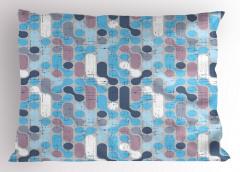 Mor Mavi Karışık Yastık Kılıfı Eskitme Geometrik