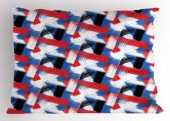 Mavi Kırmızı Çizgili Yastık Kılıfı Geometrik Eskitme