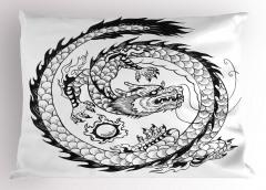 Siyah Beyaz Ejderha Yastık Kılıfı Fantastik Dekoratif