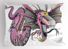 Gri Mor Ejderha Yastık Kılıfı Fantastik Desenli