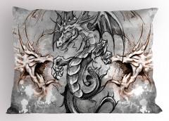 Gri Ejderha Desenli Yastık Kılıfı Fantastik Sanatsal