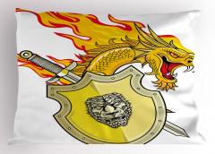 Sarı Ejderha ve Kılıç Yastık Kılıfı Fantastik