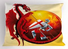 Aziz George ve Ejderha Yastık Kılıfı Dini Kırmızı
