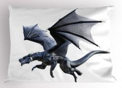 Gri Kanatlı Ejderha Yastık Kılıfı Fantastik Dekoratif