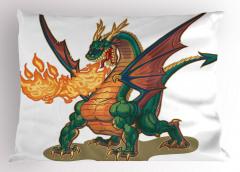 Ateşli Yeşil Ejderha Yastık Kılıfı Fantastik Dekoratif