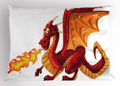 Kırmızı Sarı Ejderha Yastık Kılıfı Çizgi Film Stili