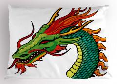 Yeşil Çin Ejderhası Yastık Kılıfı Fantastik Canavar