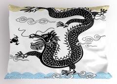 Geleneksel Ejderha Yastık Kılıfı Çin Canavar