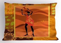 Testi Taşıyan Kadın Yastık Kılıfı Afrika Dekoratif