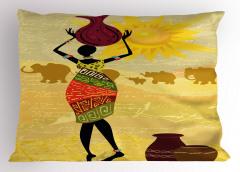 Filler ve Testili Kadın Yastık Kılıfı Afrika Dekoratif