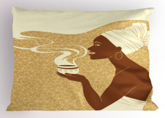 Kahve İçen Afrikalı Yastık Kılıfı Şık Tasarım