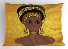 Sarı Küpeli Afrikalı Yastık Kılıfı Etnik Dekoratif