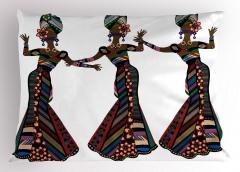 Dansçı Afrikalılar Yastık Kılıfı Rengarenk Dekoratif
