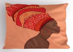 Pembe Türbanlı Afrikalı Yastık Kılıfı Küpe Dekoratif