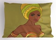 Yeşil Türbanlı Afrikalı Yastık Kılıfı Kadın Dekoratif