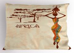Afrikalı Kadın ve Ağaç Yastık Kılıfı Etnik Kahverengi
