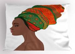 Etnik Desenli Yastık Kılıfı Afrikalı Kadın Şık