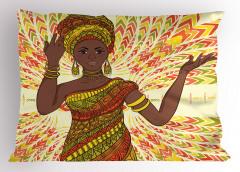Sarı Bilezikli Kadın Yastık Kılıfı Afrika Etnik Şık