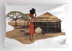 Su Taşıyan Afrikalı Yastık Kılıfı Etnik Kahverengi