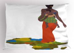 Bebek Taşıyan Anne Yastık Kılıfı Afrikalı Etnik Şık