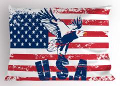 Kartallı ABD Bayrağı Yastık Kılıfı Kırmızı Lacivert