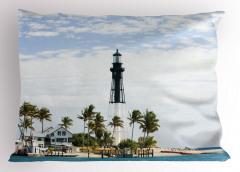 Deniz Feneri ve Palmiye Yastık Kılıfı Doğa Gökyüzü