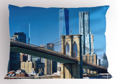 Mavi Gökdelenler Yastık Kılıfı Köprü Gökyüzü