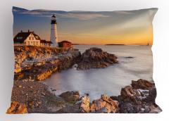 Beyaz Deniz Feneri Yastık Kılıfı Ev Kaya Gökyüzü