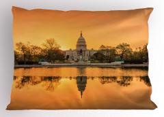 Amerikan Kongre Binası Yastık Kılıfı Turuncu Gökyüzü