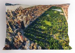 Central Park ve Gökyüzü Yastık Kılıfı ABD Mimari Ağaç