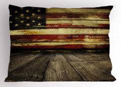 Ahşap ABD Bayrağı Yastık Kılıfı Kahverengi Nostaljik