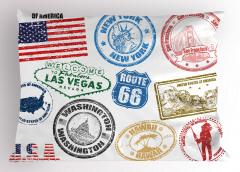 ABD Sembolleri Yastık Kılıfı Rengarenk Retro