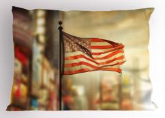 Gönderdeki Bayrak Yastık Kılıfı ABD Ülke Şehir