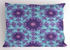 Mor ve Mavi Çiçekli Yastık Kılıfı Geometrik Şık
