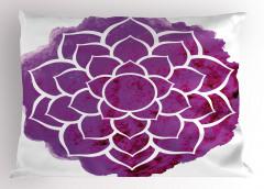 Mor Beyaz Şık Çiçekli Yastık Kılıfı Sulu Boya