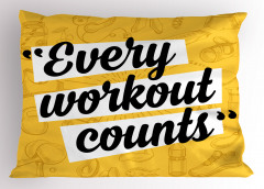 Siyah Duvar Yazısı Yastık Kılıfı Sarı Sağlık Spor