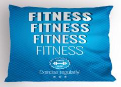 Düzenli Egzersiz Yap Yastık Kılıfı Mavi Beyaz Sağlık