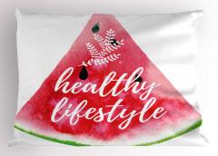 Sağlıklı Yaşam Yastık Kılıfı Kırmızı Karpuz Sulu Boya