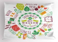 Sağlıklı Gıdalar Yastık Kılıfı Yeşil İlham Verici