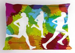 Koşucular Desenli Yastık Kılıfı Rengarenk Spor