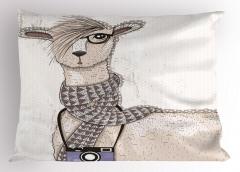 Hipster Lama Desenli Yastık Kılıfı Sevimli Şık
