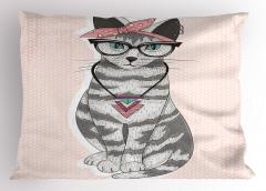 Gri Gözlüklü Kedi Yastık Kılıfı Sevimli Dekoratif