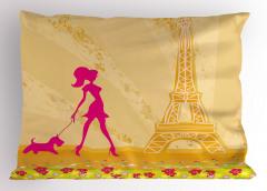 Eyfel ve Mor Kız Yastık Kılıfı Paris Dekoratif