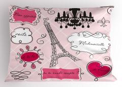Romantik Paris Yastık Kılıfı Eyfel Pembe Şık