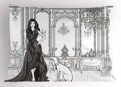 Şık Kadın ve Köpeği Yastık Kılıfı Siyah Beyaz