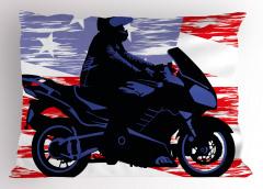 Mavi Motosikletli Adam Yastık Kılıfı Yıldız Kırmızı